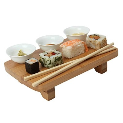 Dexam Bamboo Sushi Serving Kit Set, including Bowls, Table & Chopsticks (Pack of 2) - ボウル、テーブル...