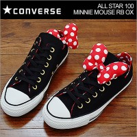 CONVERSE コンバース ALL STAR 100 MINNIE MOUSE RB OX オールスター 100 ミニーマウス RB OX BLACK ブラック ディズニー コラボ リボン 靴...