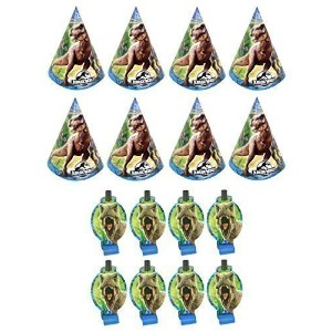 【Jurassic World Dinosaurs Birthday Party Favors Pack Including Blowouts and Party Cone Hats - 8...