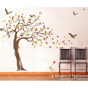 PopDecors - Beautiful Tree and Birds(71 inch H )- Custom Beautiful Tree Wall Decals for Kids Rooms...