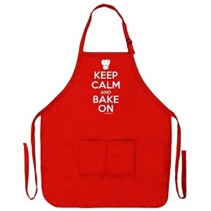 Keep Calm and Bake On面白いエプロンforキッチンBaker Baking 2つポケットエプロン女性と男性用 レッド
