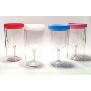 1 xワインタンブラーのセット4 with Lids Assorted Colors大人用Sippy Cup
