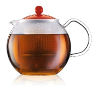 Assam Tea Press with Glass Handle and Coloured Plastic Lid 1L, 34oz Red (Pack of 4) - 赤34オンスガラスハンドルと...