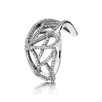 PANDORA Ringsパンドラリング蝶の翼女性永遠結婚記念日-Butterfly Wing Silver Ring with Cubic Zirconia (17.5)