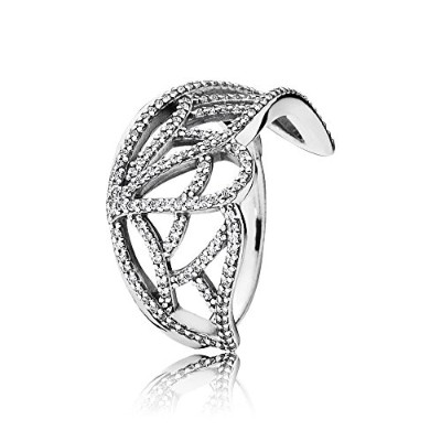 PANDORA Ringsパンドラリング蝶の翼女性永遠結婚記念日-Butterfly Wing Silver Ring with Cubic Zirconia 190937CZ 52