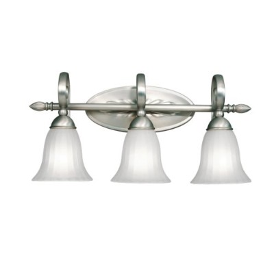 5928NI Willowmore 3LT Vanity Fixture, Brushed Nickel Finish with Distressed Etched Glass by Kichler