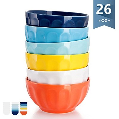 (770ml, Hot Assorted) - Sweese 1109 Porcelain Fluted Bowl Set - 770ml Deep and Microwavable for...