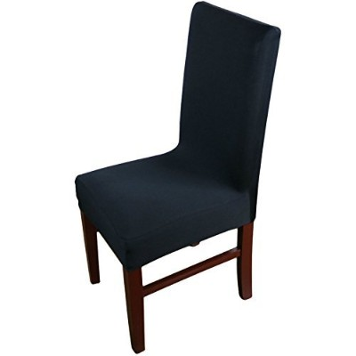 (Black) - Knit Spandex Fabric Stretch Dining Room Chair Slipcovers Set of 4 Black