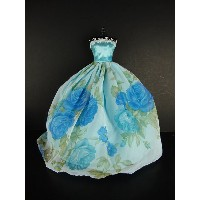 バービー 着せ替え用ドレス/服 Blue8 (Blue Gown with Blue Rose Patterns on the Skirt Made to Fit Barbie Doll)