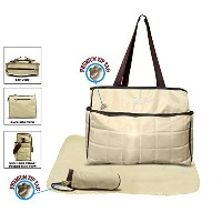 Official Todd Baby Quilted 3 Pc Cream Diaper Nappy Changing Shoulder Bag Bottle Holder Set New by...