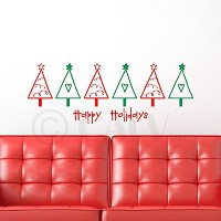 Multicolor Christmas Trees-Happy Holidays vinyl wall decal by Wall Saying Vinyl Lettering