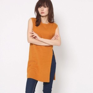【SALE 71%OFF】ミーア プロデュースド バイ ルーミィーズ MIIA produced by Roomy's OUTLET スリットニットベスト (オレンジ)