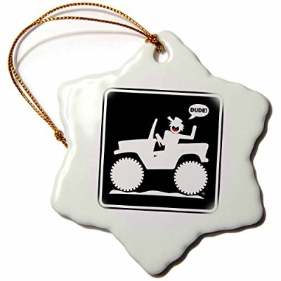 3dローズマークグレースSCREAMNJIMMY車 – 車Dudeブラックサイン1 – Ornaments 3 inch Snowflake Porcelain Ornament orn_14748...