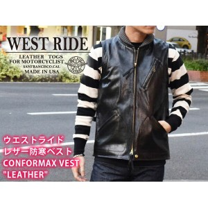 "【WESTRIDE/ウエストライド】レザー防寒ベスト/CONFORMAX VEST ""LEATHER""★REALDEAL"