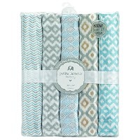 "Petite L'Amour Baby Boys' ""Chevron Sleep"" 5-Pack Receiving Blankets - blue, one size"