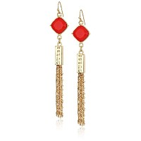 Guess Womens Stone Drop With Fringe Linear Earrings One Size