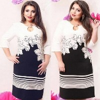 Plus Size Women s Stripe Stitching Formal Work Cocktail Party Pencil Mid Dress