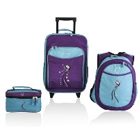 Obersee Little Kids Luggage Set, Turquoise Butterfly by Obersee
