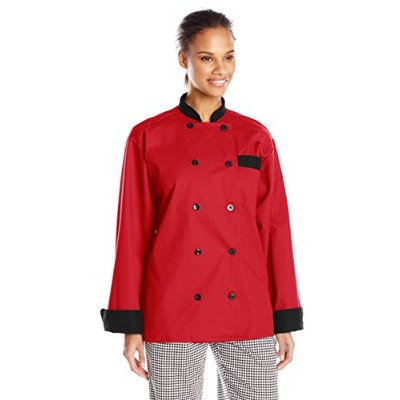 Uncommon Threads 0404-1905 Newport Chef Coat 10 Buttons in Red/Black Trim - XLarge