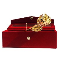 Nexxa 24K Gold Dipped Gold Plated Natural Rose with Exclusive Red Velvet Box Birthday Christmas...