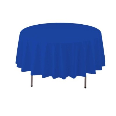 Party Essentials Heavy Duty 210cm Round Plastic Table Cover Available in 22 Colours, Royal Blue