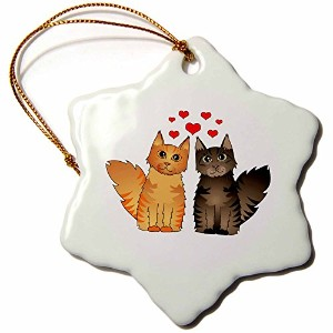 3dローズJanna Salak Designs Cats – キュートMaine Coon Cats in love-赤とブラウンTabby – Ornaments 3 inch...