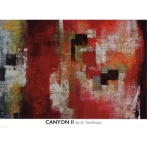 Canyon II by A。Tomlinson 26X 36アートプリントポスターAbstract Painting Squares
