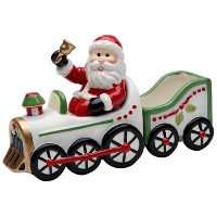Cosmos Gifts 10664Santa in Train Salt and Pepper Set with Sugarパックホルダー、6–1/ 4インチ
