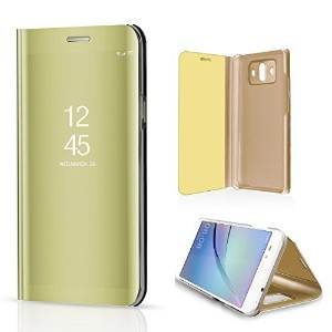 Huawei P10 Plus Case, Translucent Window View Flip Wallet Stand Cover, Shiny Plating Make Up Mirror...