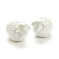 Wooly SheepセラミックSalt and Pepper Shaker Set inホワイト