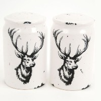 Stag Deer With Antlers Salt and Pepper Shaker Set、ブラック&ホワイト