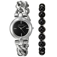Anne Klein Women 's Watch andビーズブレスレットセット Silver Tone and Onyx