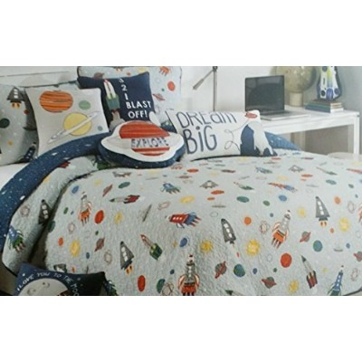 Authentic Kids Reversible Cotton Quilt Space Shuttle Spaceship Stars Planets Twin [並行輸入品]