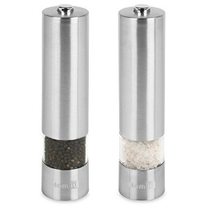 homiu電子ステンレススチールSalt & Pepper Mill Set with Adjustable Grinder