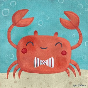 """Oopsy Daisy Fine Art for Kids Let 's Set Sail Crabキャンバス壁アートby Anne Bollman 14 x 14"""" NB21635"""