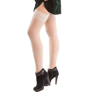 ITA-MED Sheer Thigh Highs, Compression (23-30 mmHg) Nude, XXLarge by ITA-MED