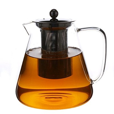 1480ml/1.5Liter Large Glass Teapot with Stainless Steel Infuser and Lid, Flower Tea and Loose Leaf...