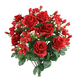 Admired By Nature gpb747-cream 3Stems Faux Rose BudsフィラーMixed Flower Bush レッド GPB7407-RED