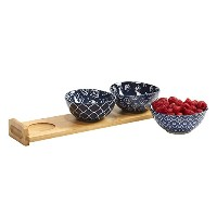 Certified Internationalブルーインディゴ4 pc。Serving Set with竹トレイ