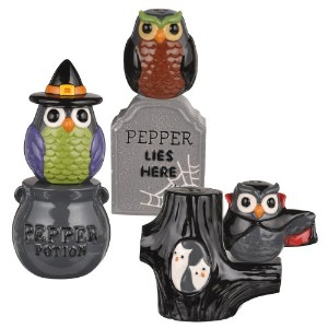 Grasslands Road 6パックセラミックMidnight Owl Magnetic Salt and Pepper Shakers、4インチ