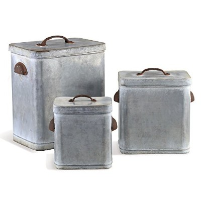 Vintage Style Galvanized Zinc Lidded Canisters (Set of 3) by Napa Home and Garden