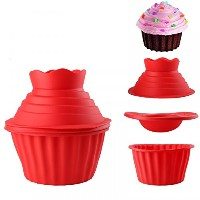 GenericシリコンジャンボGiant Big Top Birthday CupcakeカップケーキMouldベイクBakingメーカー3d mold-79 3pcs