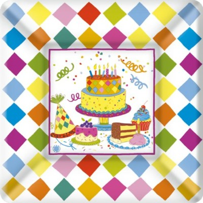 Ideal Home Range 8 Count Square Paper Plates, 18cm, Birthday Cakes