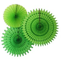 Hanging Honeycomb Tissue Fan, Lime, Set of 3 (13 inch, 18 inch, 21 inch) by Devra Party