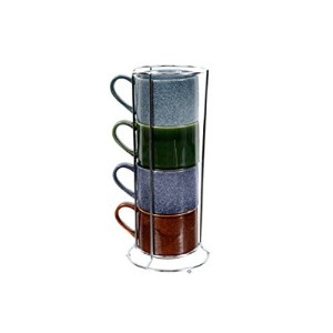 DEI Reactive Glaze Stacking Mug Set withワイヤラックのセット4
