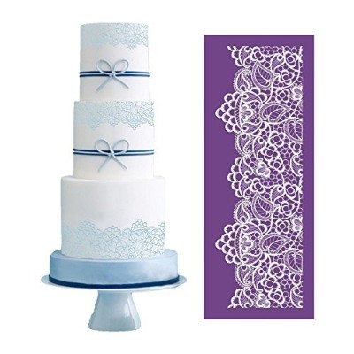 ART Kitchenware 49cm 19cm Large Alencon Lace Floral Mesh Stencil Rose Flower Cake Stencil Wedding...