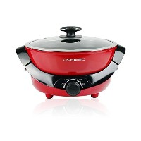 Liven HG-S480A Dual Sided Electric Hot Pot with Divider, Shaba Shabu Non-stick, 1200W, Red by Liven