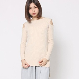 【SALE 70%OFF】ミーア プロデュースド バイ ルーミィーズ MIIA produced by Roomy's OUTLET 肩スリットニットトップス (オフホワイト)