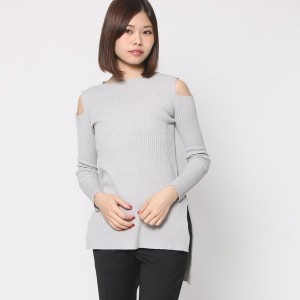 【SALE 70%OFF】ミーア プロデュースド バイ ルーミィーズ MIIA produced by Roomy's OUTLET 肩スリットニットトップス (ライトグレー)