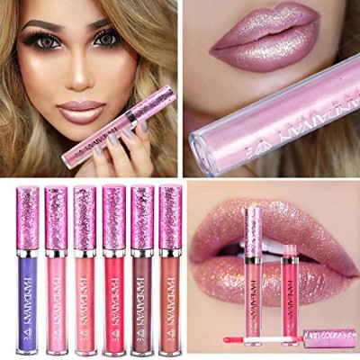 HANDAIYAN Liquid Pearly Glitter Lipsticks Set - 6 pcs Long Lasting Nonstick Lip Gloss Mermaid...